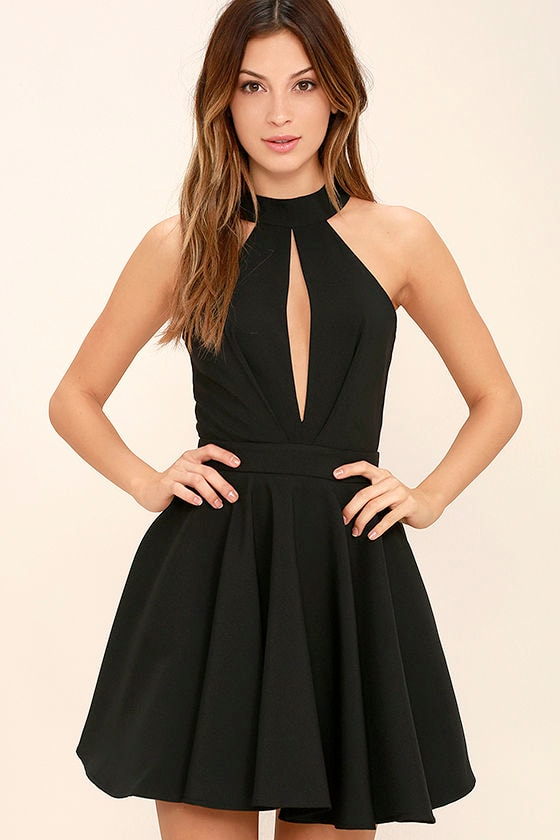Smile Sweetly Black Skater Dress 1