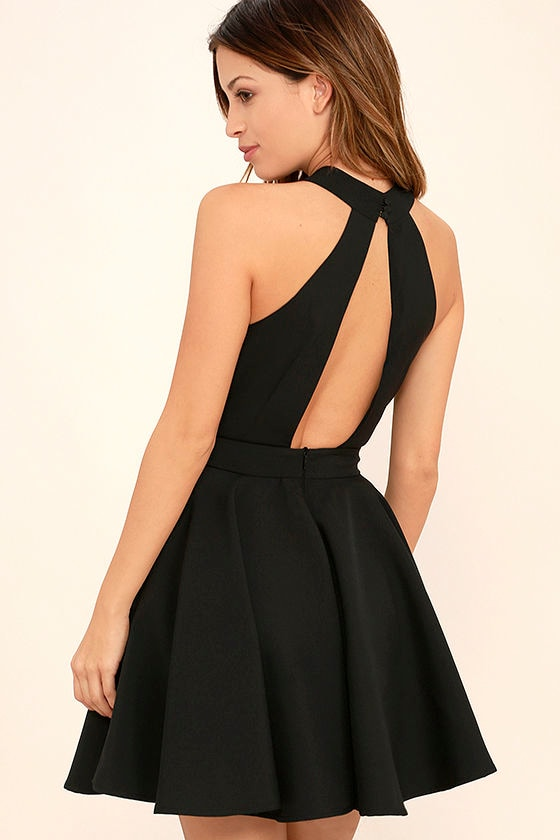 Smile Sweetly Black Skater Dress 3