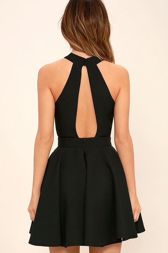 Smile Sweetly Black Skater Dress 4