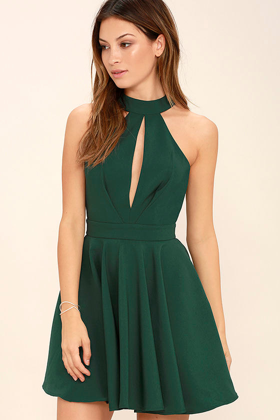 d76b1660fdaf Sexy Forest Green Dress - Skater Dress - Fit-and-Flare Dress -  54.00