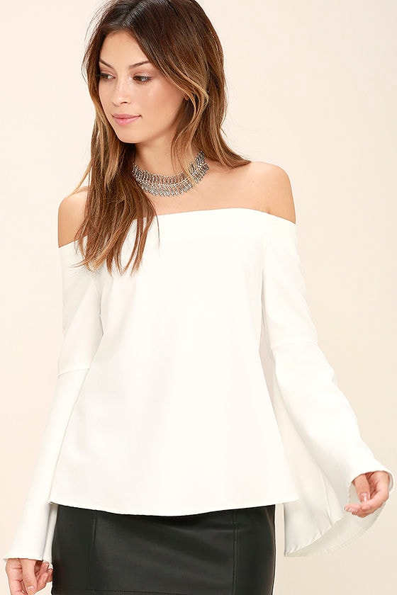 Dreams of Dancing White Off-the-Shoulder Top 1