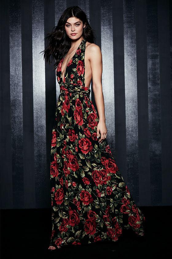 dba12d050afe Sexy Black Floral Print Dress - Halter Dress - Maxi Dress - $89.00