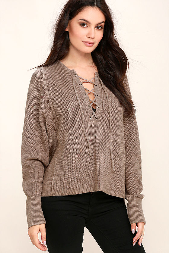 Yours Always Taupe Lace-Up Sweater 1