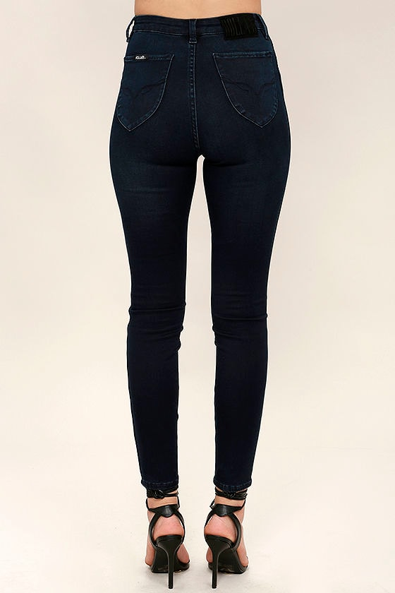 Rollas Westcoast Jeans - Dark Blue Jeans - High-Waisted Jeans ...