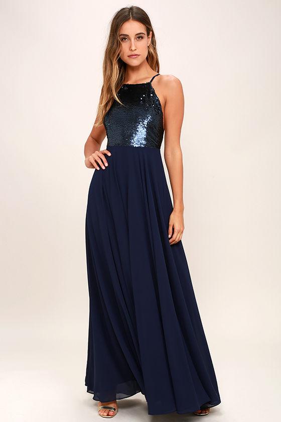 Cotillion Matte Navy Blue Sequin Dress 1