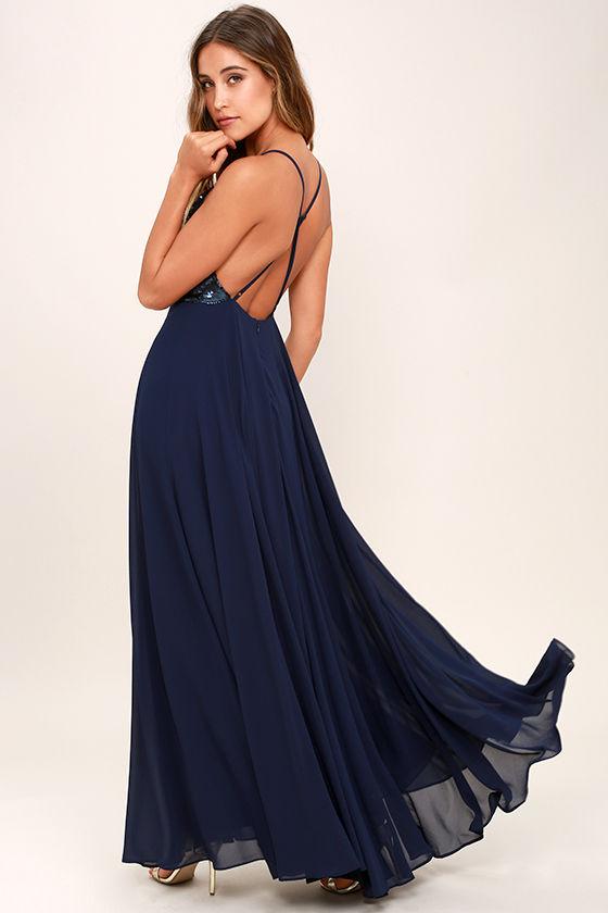 Cotillion Matte Navy Blue Sequin Dress 3