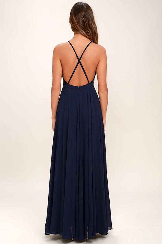 Cotillion Matte Navy Blue Sequin Dress 4