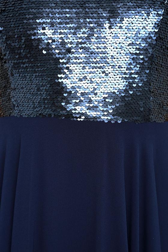 Cotillion Matte Navy Blue Sequin Dress 6