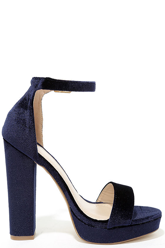 Sexy Blue Velvet Heels - Velvet Platform Heels - Ankle Strap Heels ...
