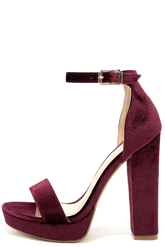 Sexy Wine Velvet Heels Velvet Platform Heels Ankle