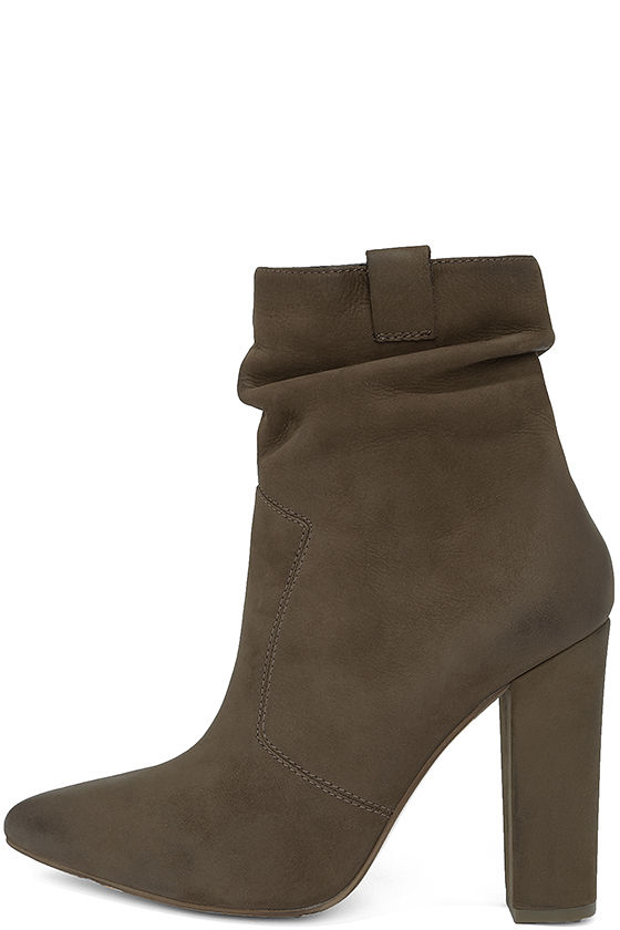 ed0fd5d83bd44 Steve Madden Ruling Booties - High Heel Booties - Taupe Slouchy Boots