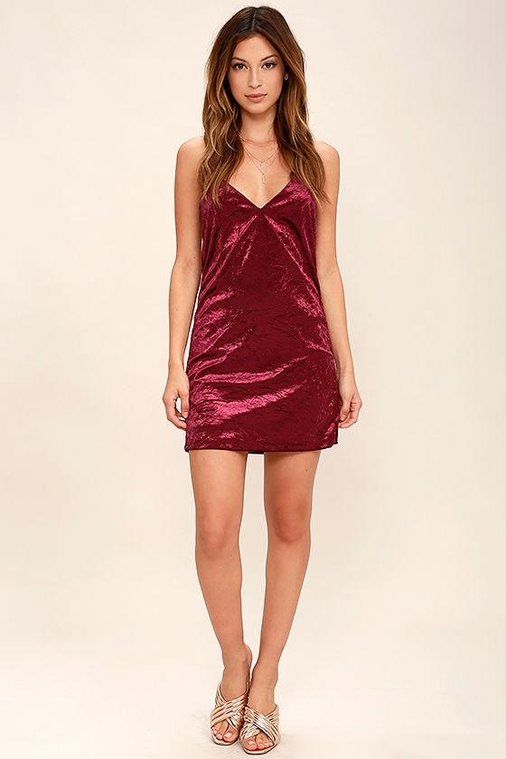 bb4075d13e0 Sexy Burgundy Dress - Velvet Dress - Slip Dress -  46.00