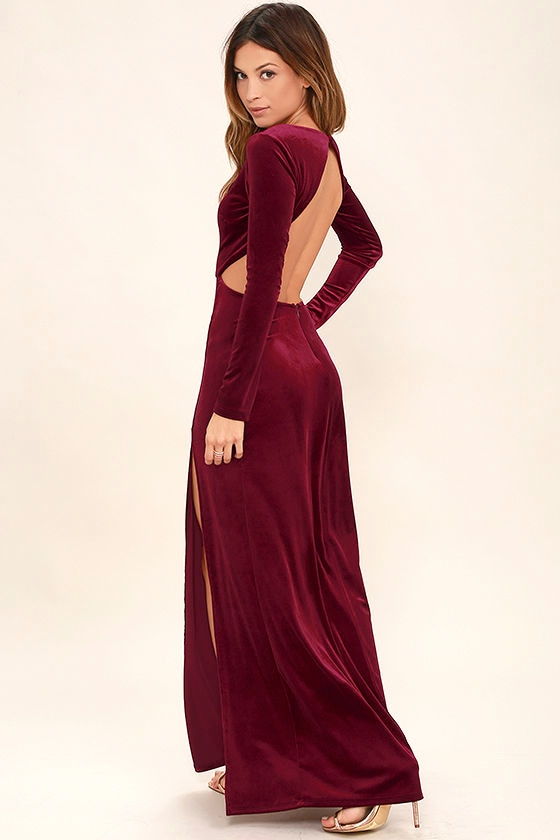 Besame Burgundy Velvet Long Sleeve Maxi Dress 1