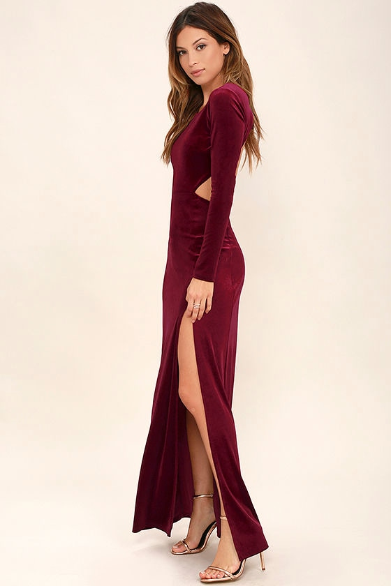 Sexy Burgundy Dress - Maxi Dress - Velvet Dress - Long Sleeve ...