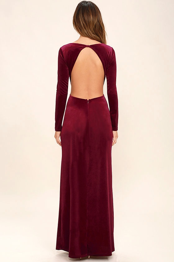 Sexy Burgundy Dress - Maxi Dress - Velvet Dress - Long Sleeve ...
