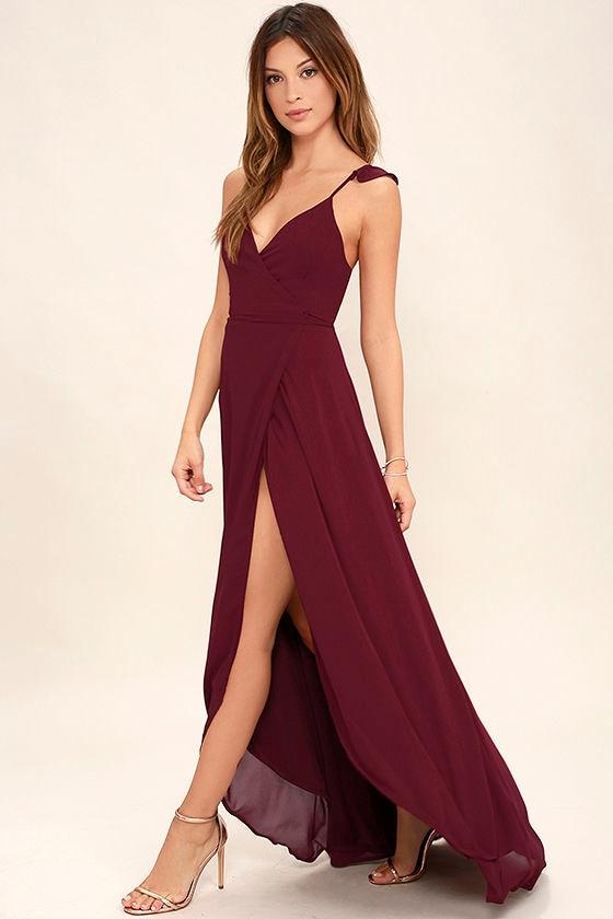 lovely burgundy dress wrap dress highlow dress maxi