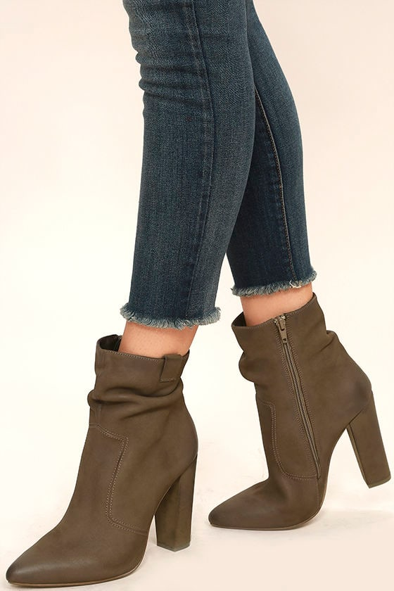 Steve Madden Ruling Booties - High Heel Booties - Taupe Slouchy Boots