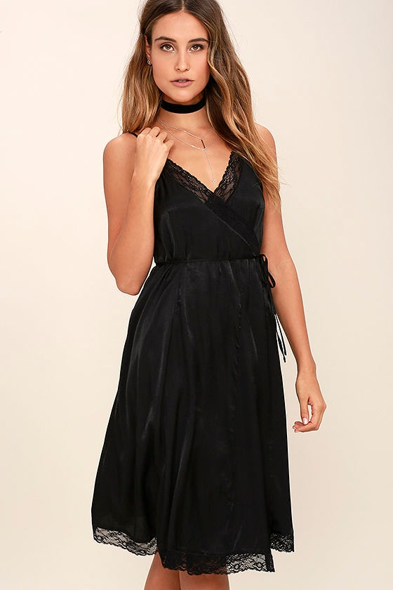 9d8c99684530 Somedays Lovin' Canyon Dress - Black Dress - Wrap Dress - Midi Dress -  $99.00