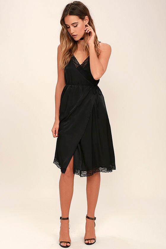 39fa7d4d8b7e Somedays Lovin' Canyon Dress - Black Dress - Wrap Dress - Midi Dress ...