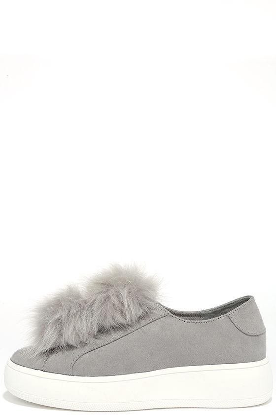 1c38bd06e02 Steve Madden Bryanne - Grey Suede Sneakers - Platform Sneakers - Pompom  Sneakers -  89.00