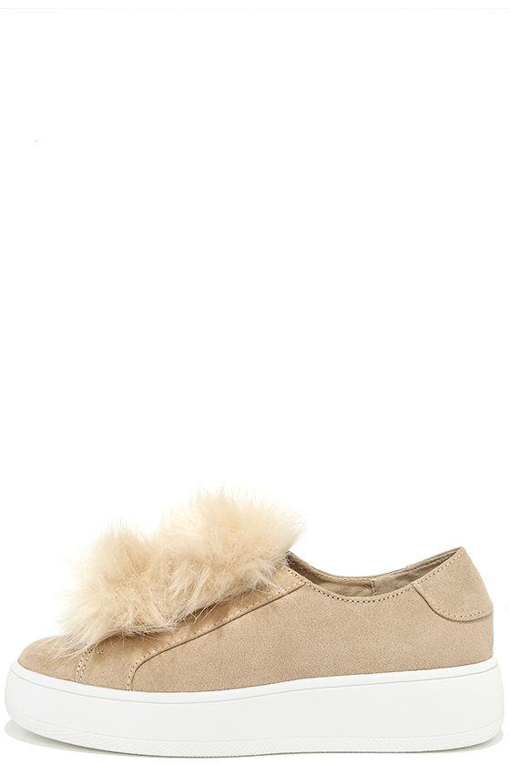 Steve Madden Bryanne - Nude Suede Sneakers - Platform Sneakers - Pompom  Sneakers - $89.00
