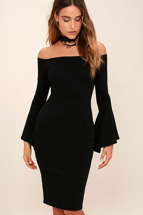 Chic black dress off the shoulder dress midi dress for A little off the top salon