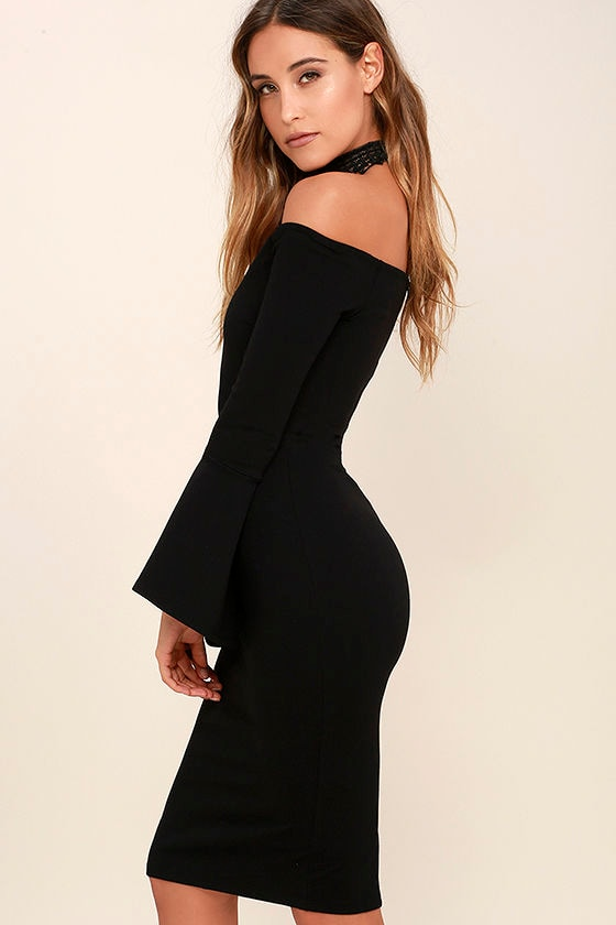 All She Wants Black Off-the-Shoulder Midi Dress 3