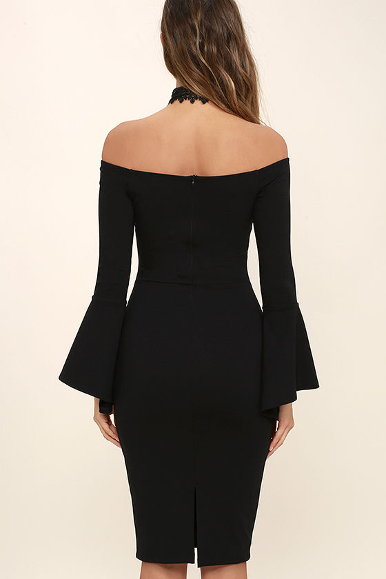 All She Wants Black Off-the-Shoulder Midi Dress 4
