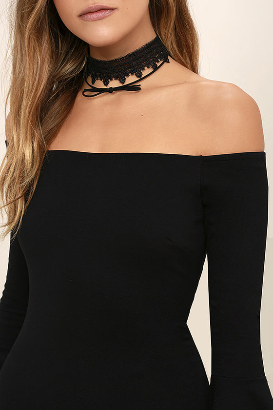 All She Wants Black Off-the-Shoulder Midi Dress 5