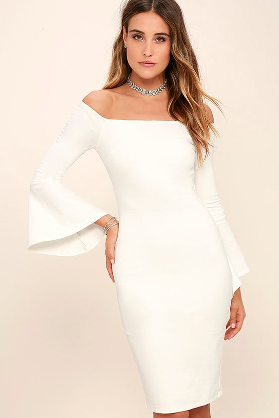 Chic White Dress - Off-the-Shoulder Dress - Midi Dress - $58.00