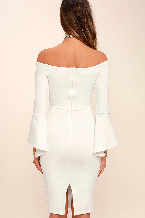 All She Wants White Off-the-Shoulder Midi Dress 4