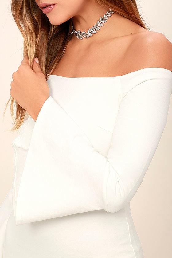 All She Wants White Off-the-Shoulder Midi Dress 5