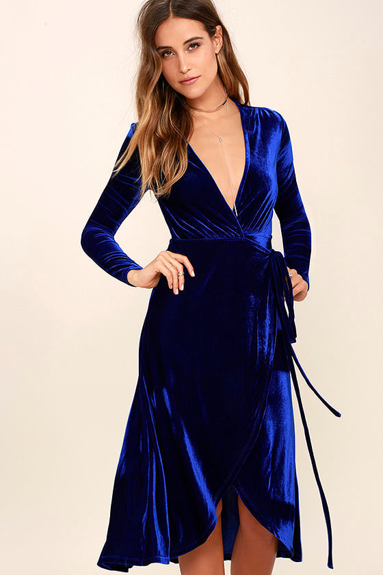 Stunning Cobalt Blue Dress Velvet Wrap Dress Midi Dress
