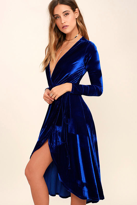 Stunning Cobalt Blue Dress - Velvet Dress - Wrap Dress - Midi ...