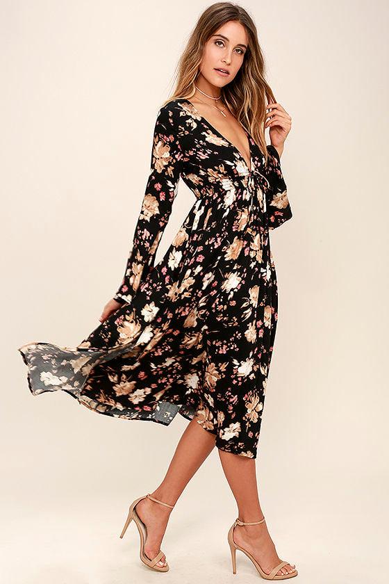 930a4eb13e883 Somedays Lovin' Dierdre Dress - Black Floral Print Dress - Midi Dress -  Bell Sleeve Dress
