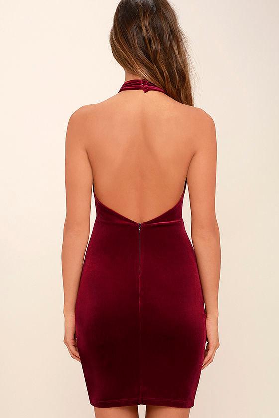 Hungry For Love Burgundy Velvet Bodycon Dress 5