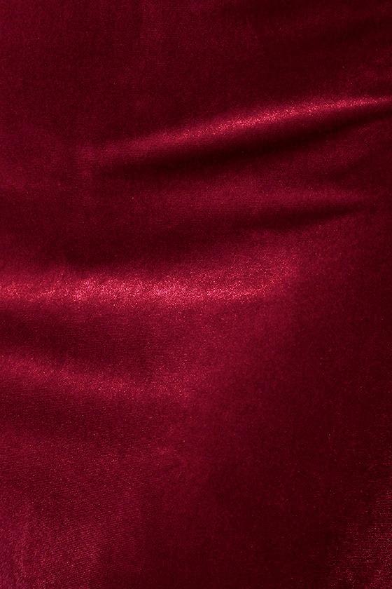 Hungry For Love Burgundy Velvet Bodycon Dress 7
