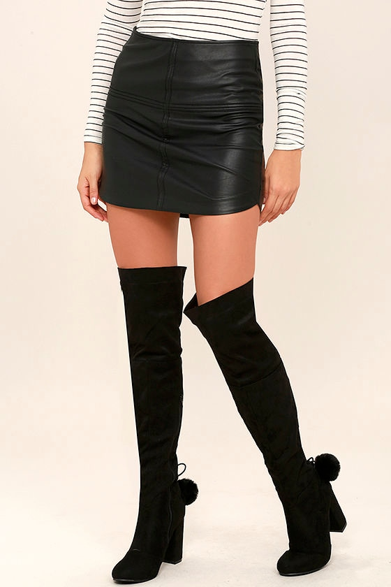 Black Over the Knee Boots - Suede OTK Boots - $59.00
