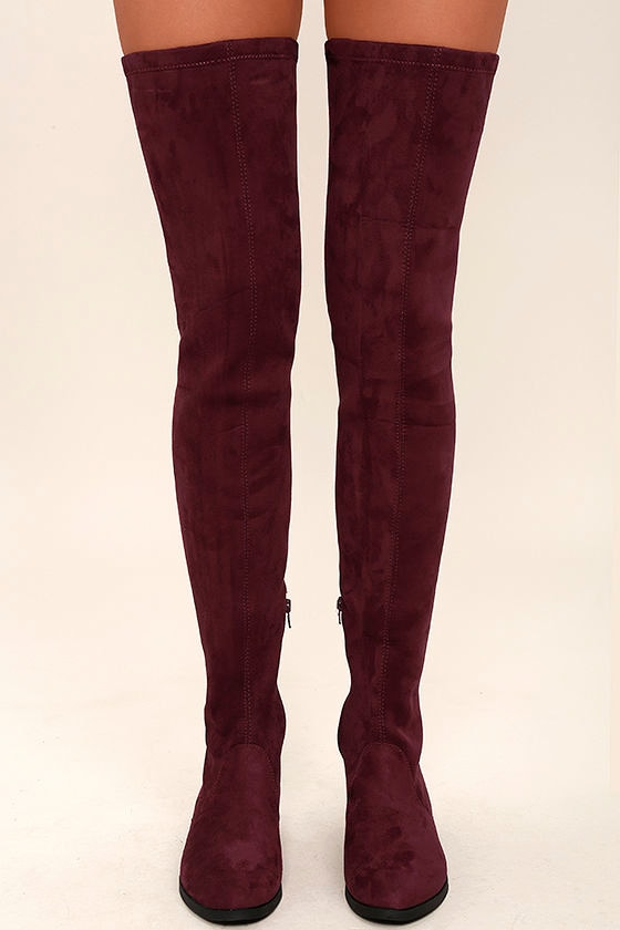 LFL Rank Boots - Thigh High Boots - Burgundy Vegan Suede OTK Boots