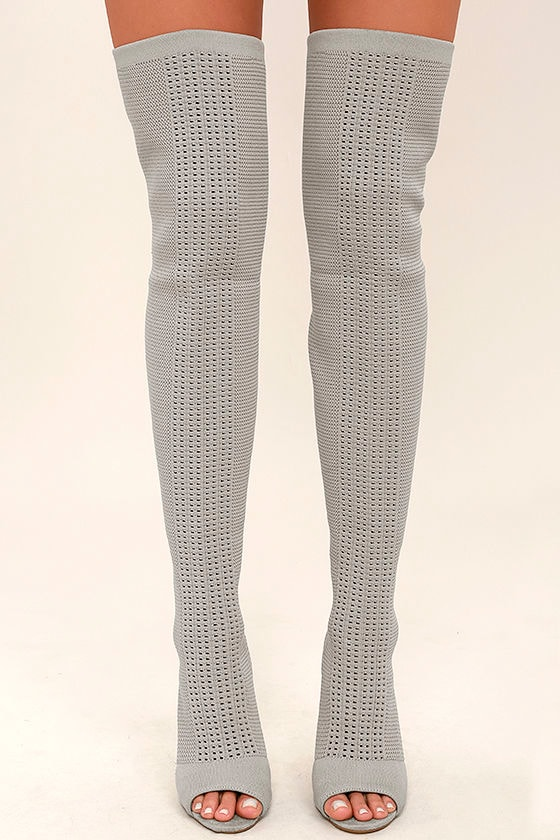 Sexy Grey Knit Boots - Peep-Toe Boots