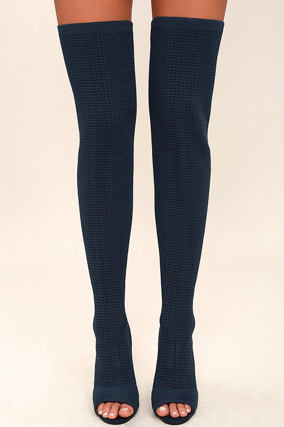 Sexy Navy Knit Boots - Peep-Toe Boots