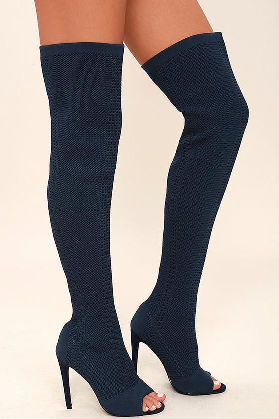 Sexy Navy Knit Boots - Peep-Toe Boots - Sock Boots - Knitted Heels ...