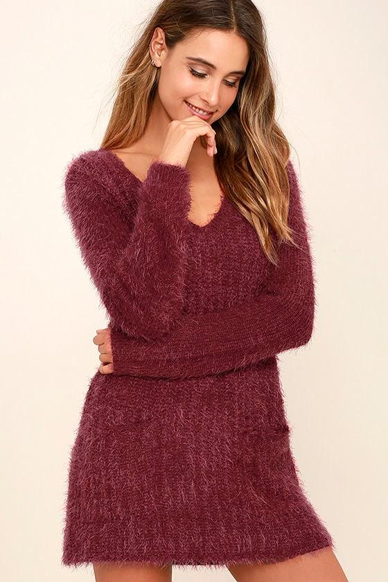 Jack by BB Dakota Aristella Dress- Wine Red Sweater Dress ...