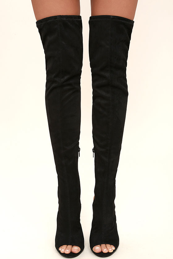 Chic Black Boots - Vegan Suede Boots - Over the Knee Boots - Peep ...