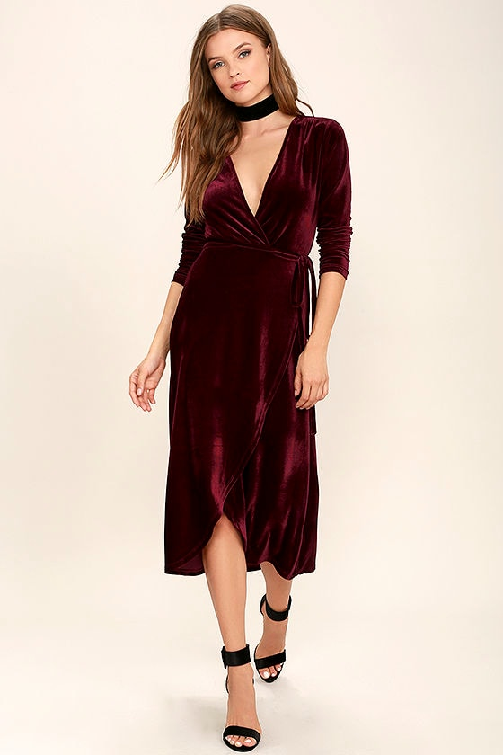 Stunning Burgundy Dress - Velvet Dress - Wrap Dress - Midi Dress ...