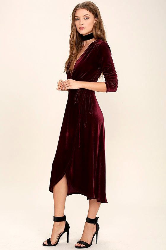 1775a21d92e6 Stunning Burgundy Dress - Velvet Dress - Wrap Dress - Midi Dress ...