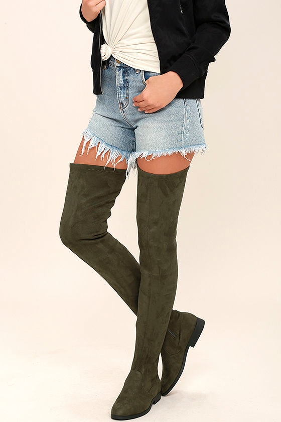 LFL Rank Boots - Thigh High Boots - Green Vegan Suede OTK Boots