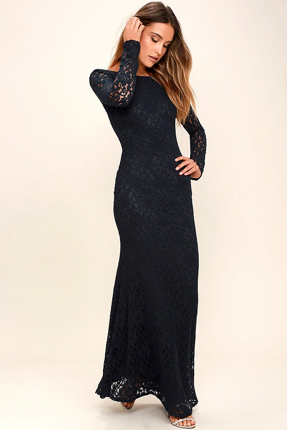 Beautiful Lace Dress - Navy Blue Dress - Maxi Dress- Long Sleeve ...