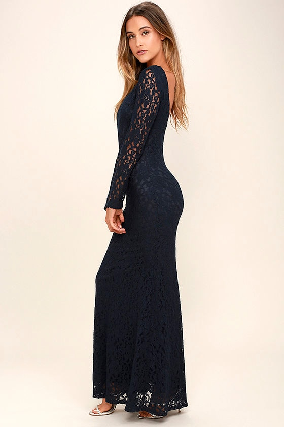 Sentimental Moment Navy Blue Lace Maxi Dress 2