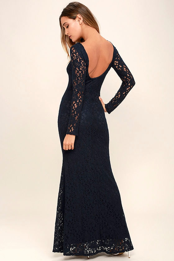 Sentimental Moment Navy Blue Lace Maxi Dress 3